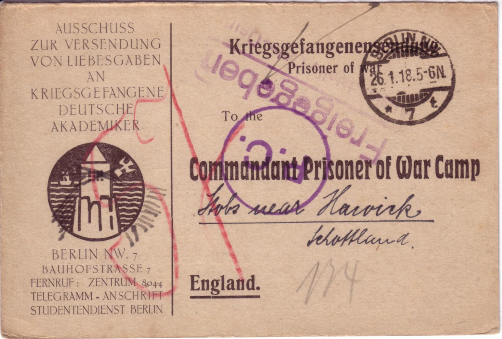 Telegram; 1918; German; First World War