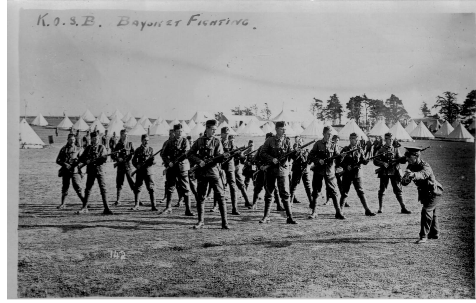 Bayonet; Training; King's Own Scottish Borderers; KOSB; Soldiers; 1915; First World War