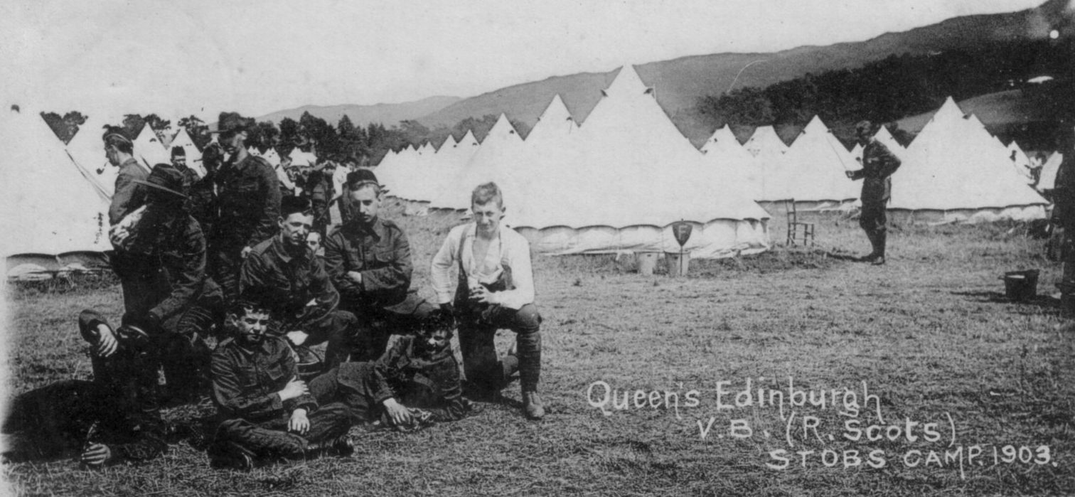 Queens Edinburgh; Royal Scots; 1903; First World War; Bell Tents; Soldiers; Volunteer Battalion