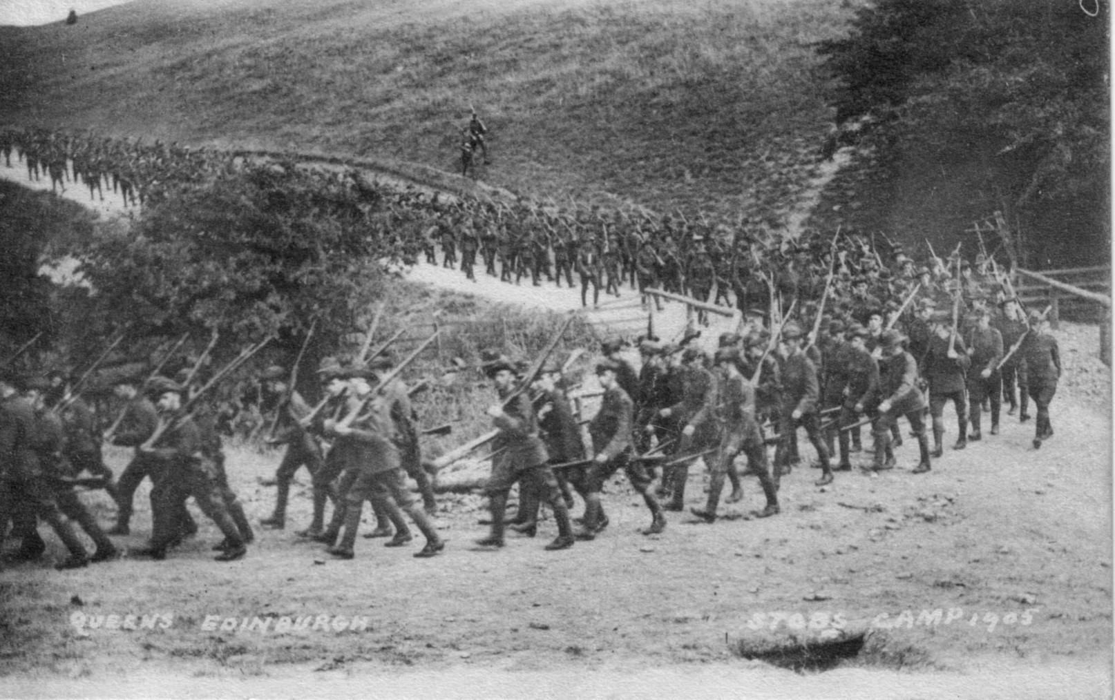 Stobs Camp; 1905; Soldiers; Queen's Edinburgh; Marching