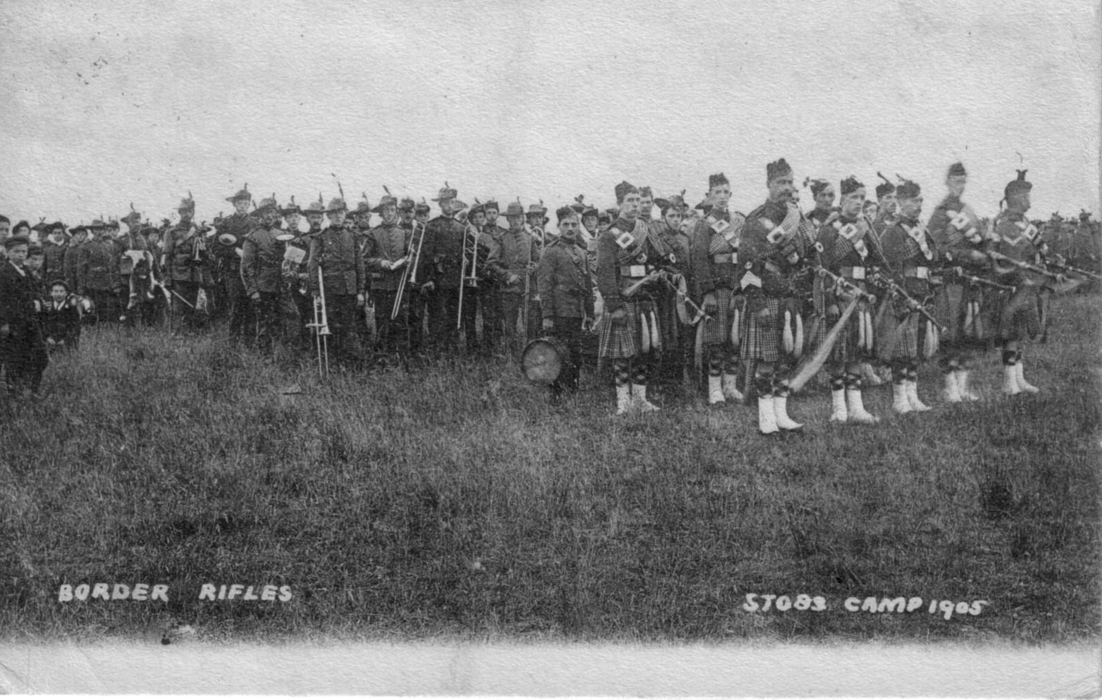 border rifles; 1905; stobs camp; musicians; instruments; kilts;