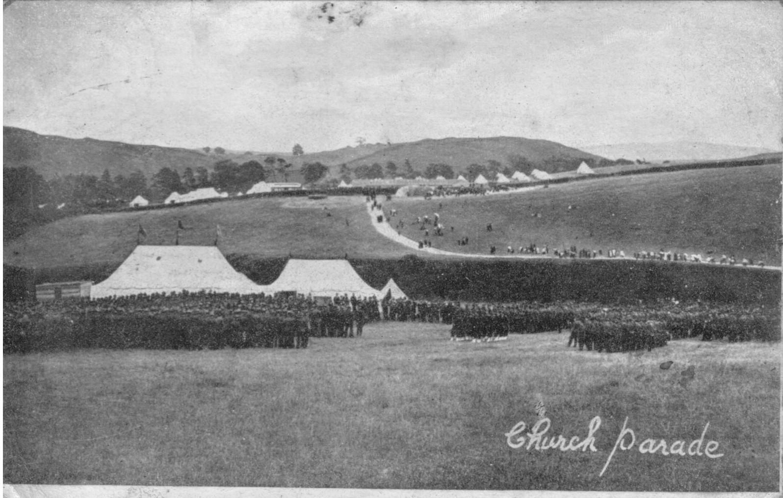 Church Parade; 1905; First World War; Soldiers; Bell Tents;