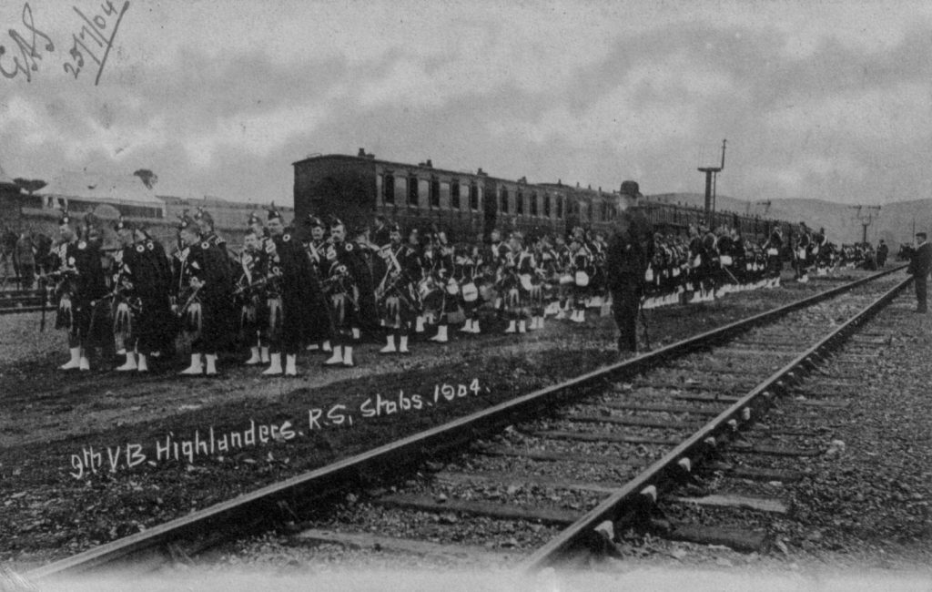 9th VOLUNTEER BATTALION (HIGHLANDERS) ROYAL SCOTS 1904; Railway Tracks; Train