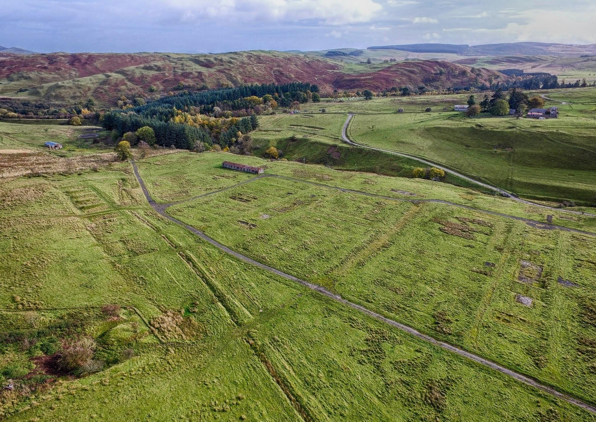 Stobs PoW Camp looking North East showing C Camp and D Camp; Aerial Photography