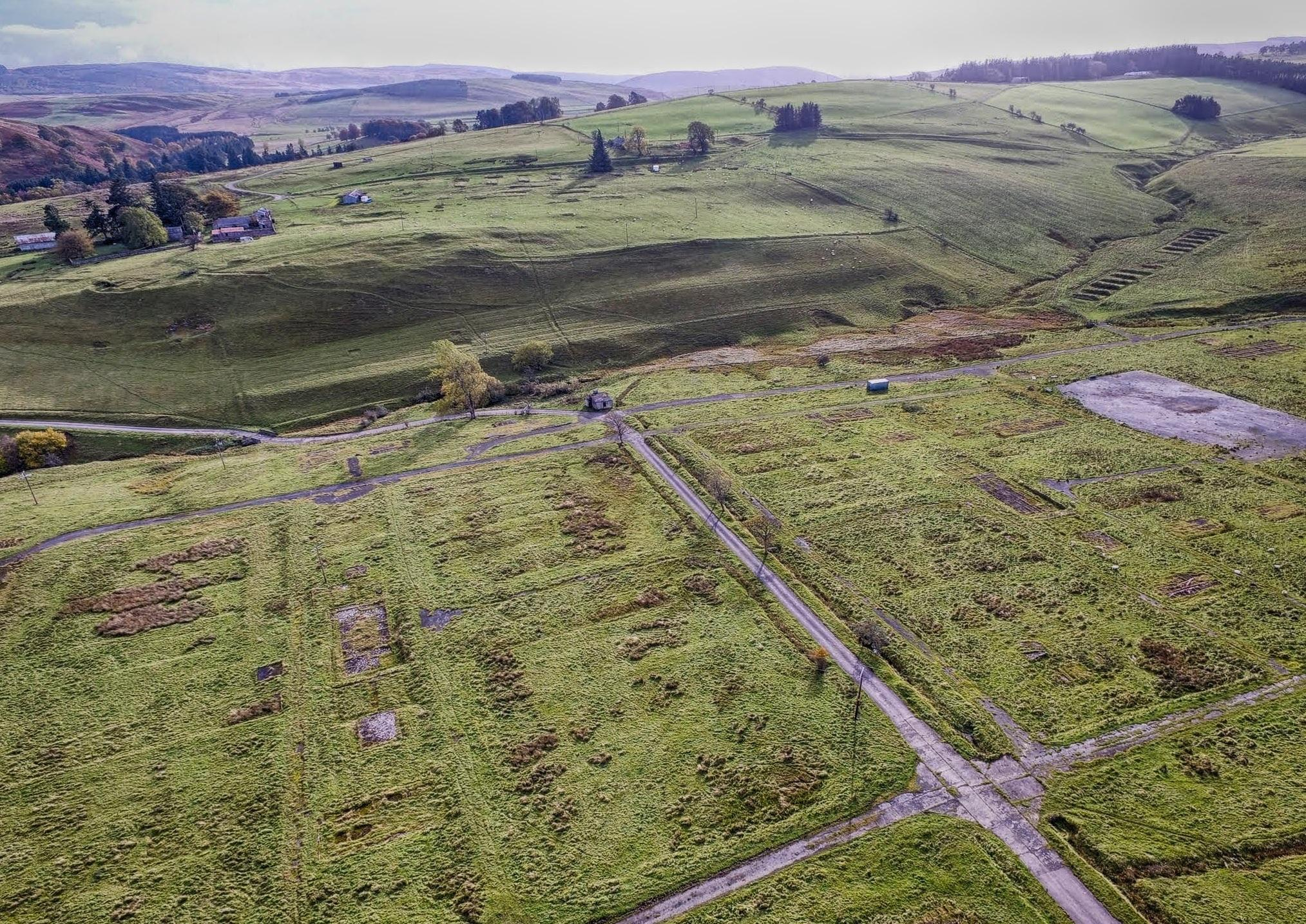 Stobs PoW Camp looking South East showing B Camp and C Camp; Aerial Photography