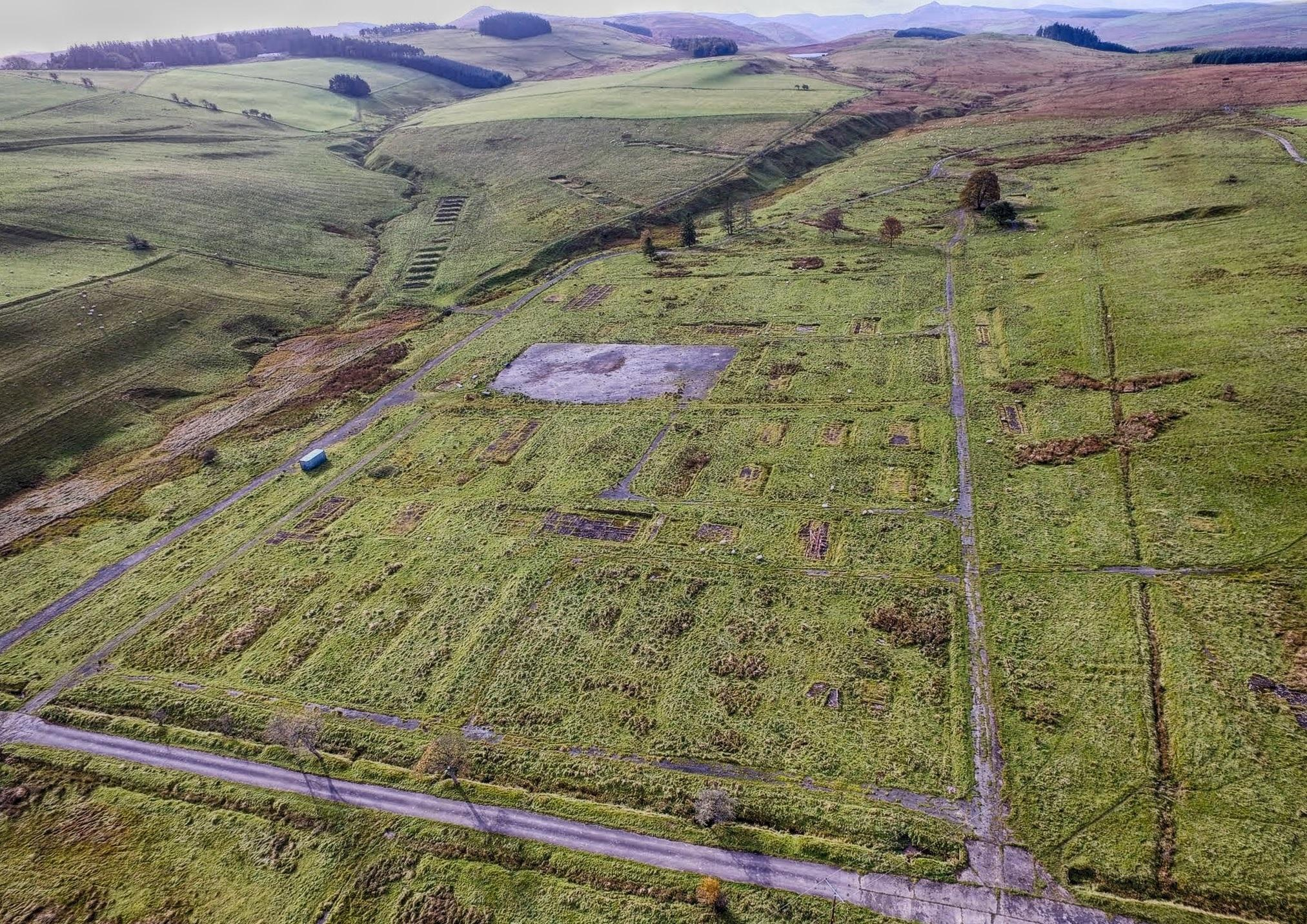 Stobs PoW Camp looking South West showing A Camp and B Camp; Aerial Photography