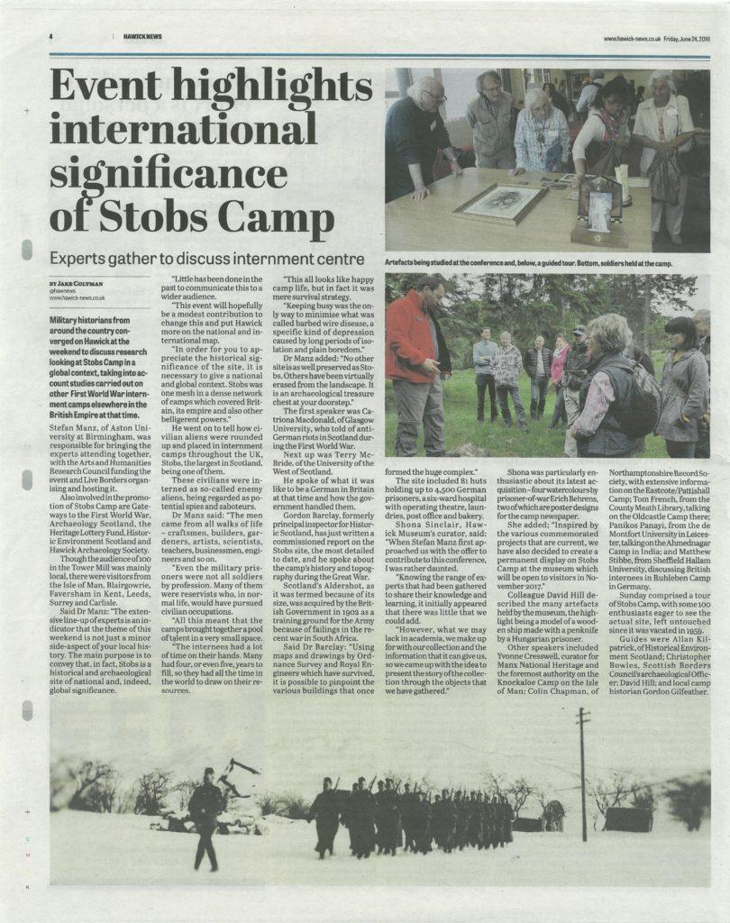 Stobs Camp; Media; Hawick News; 2016