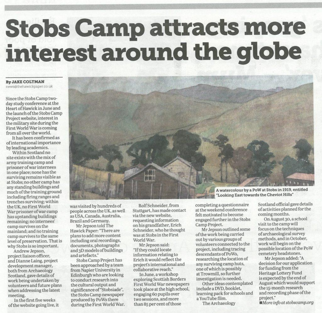 Stobs Camp; Media; Hawick Paper; 2016