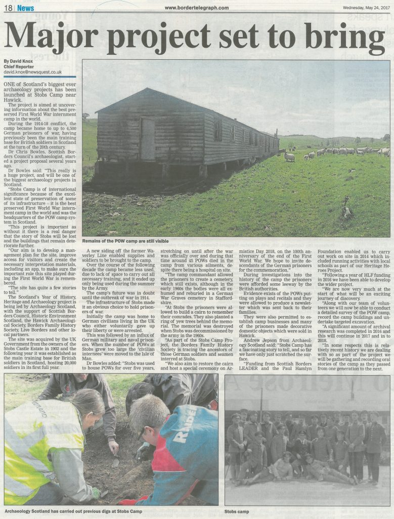 Stobs Camp; Media; Border Telegraph; 2017