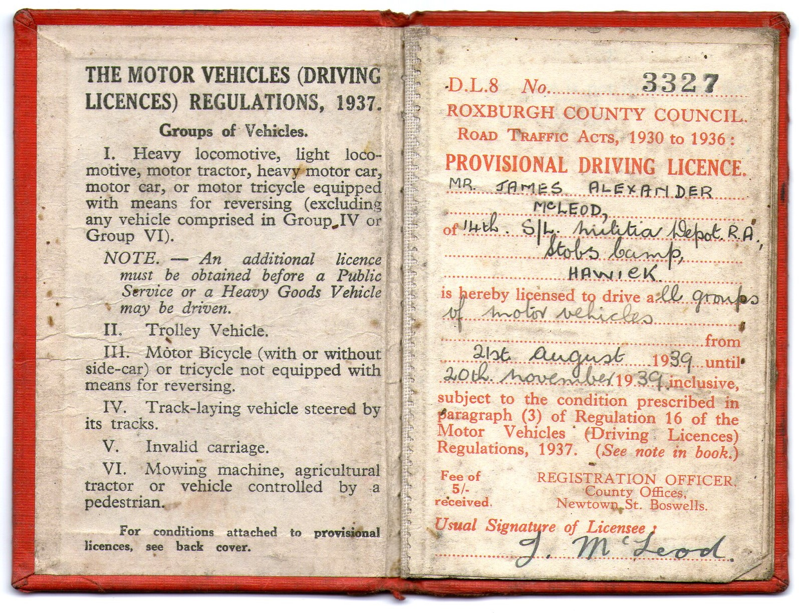Driving Licence; 1939; Second World War; James Alexander McLeod; 3327