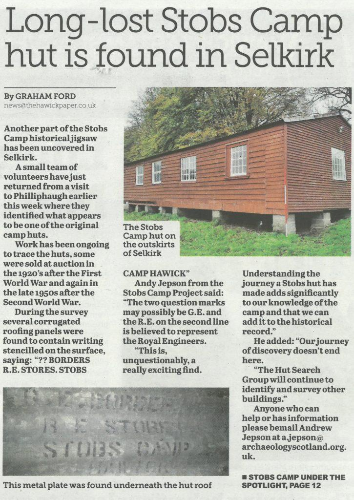 Hut; Stobs Camp; Media; Hawick Paper; 2017