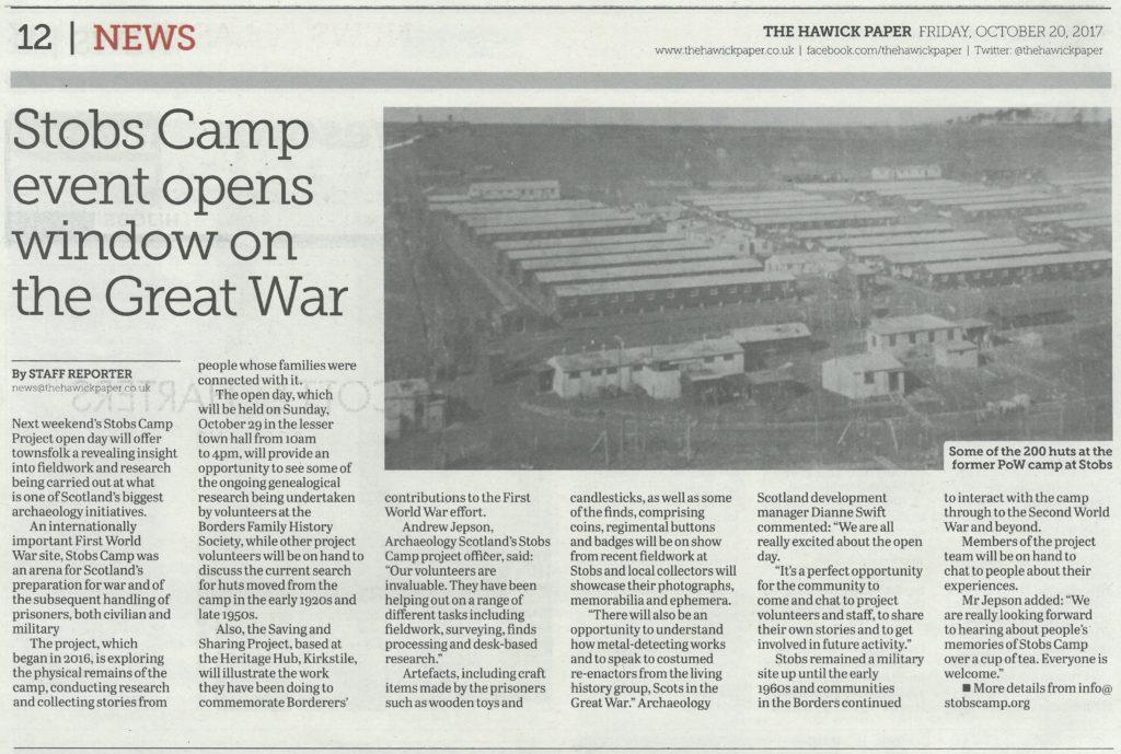 Stobs Camp; Media; Hawick Paper; 2017