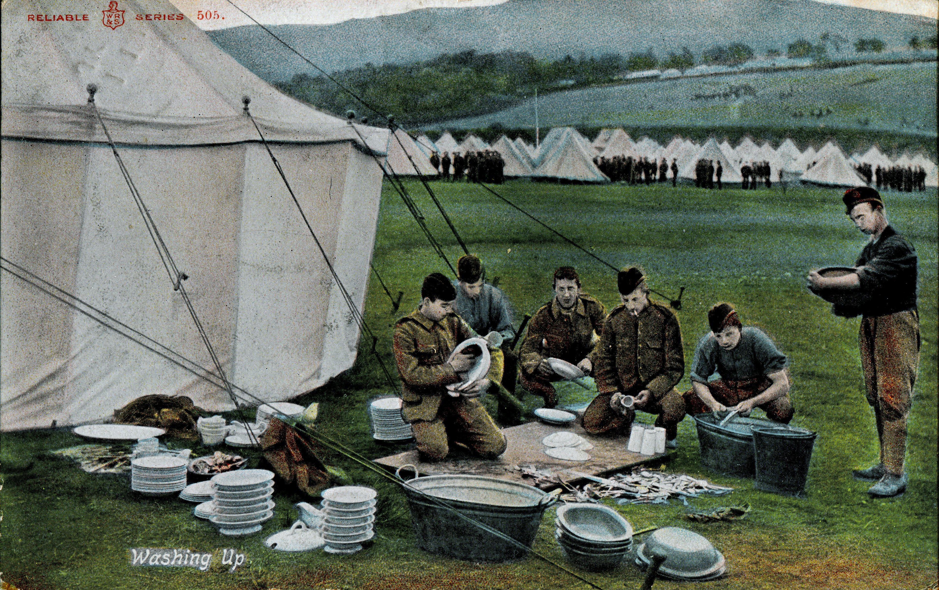 Dishes; First World War; WW1; Washing Dishes; Soldiers; Stobs Camp
